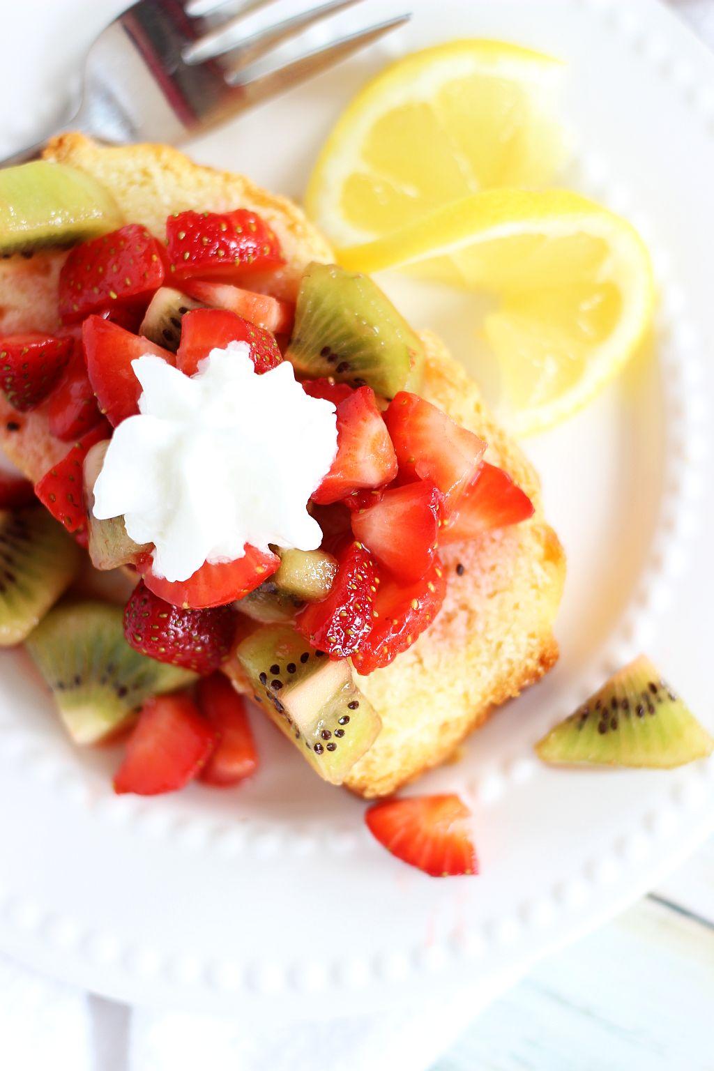 Lemon Pound Cake with Strawberry-Kiwi Sauce