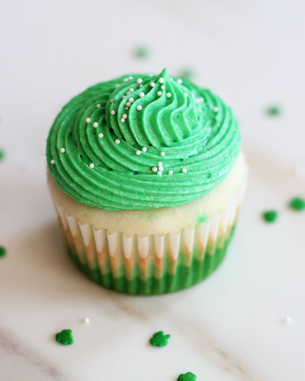 Green And White Cup Cakes For St