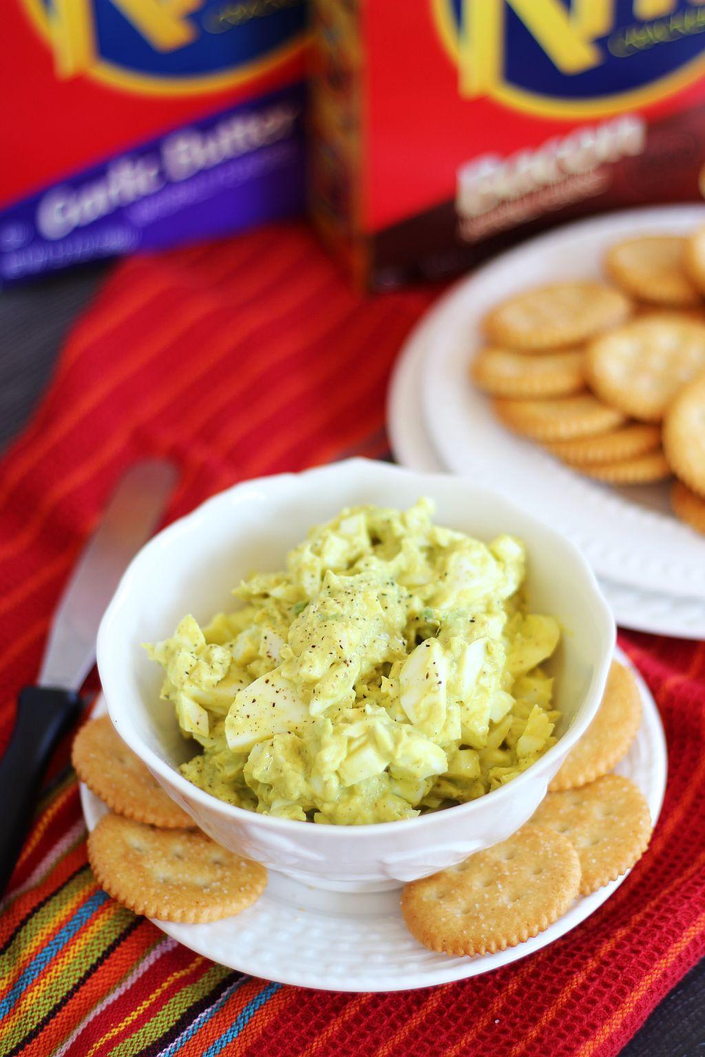 Avocado Egg Salad on Crackers