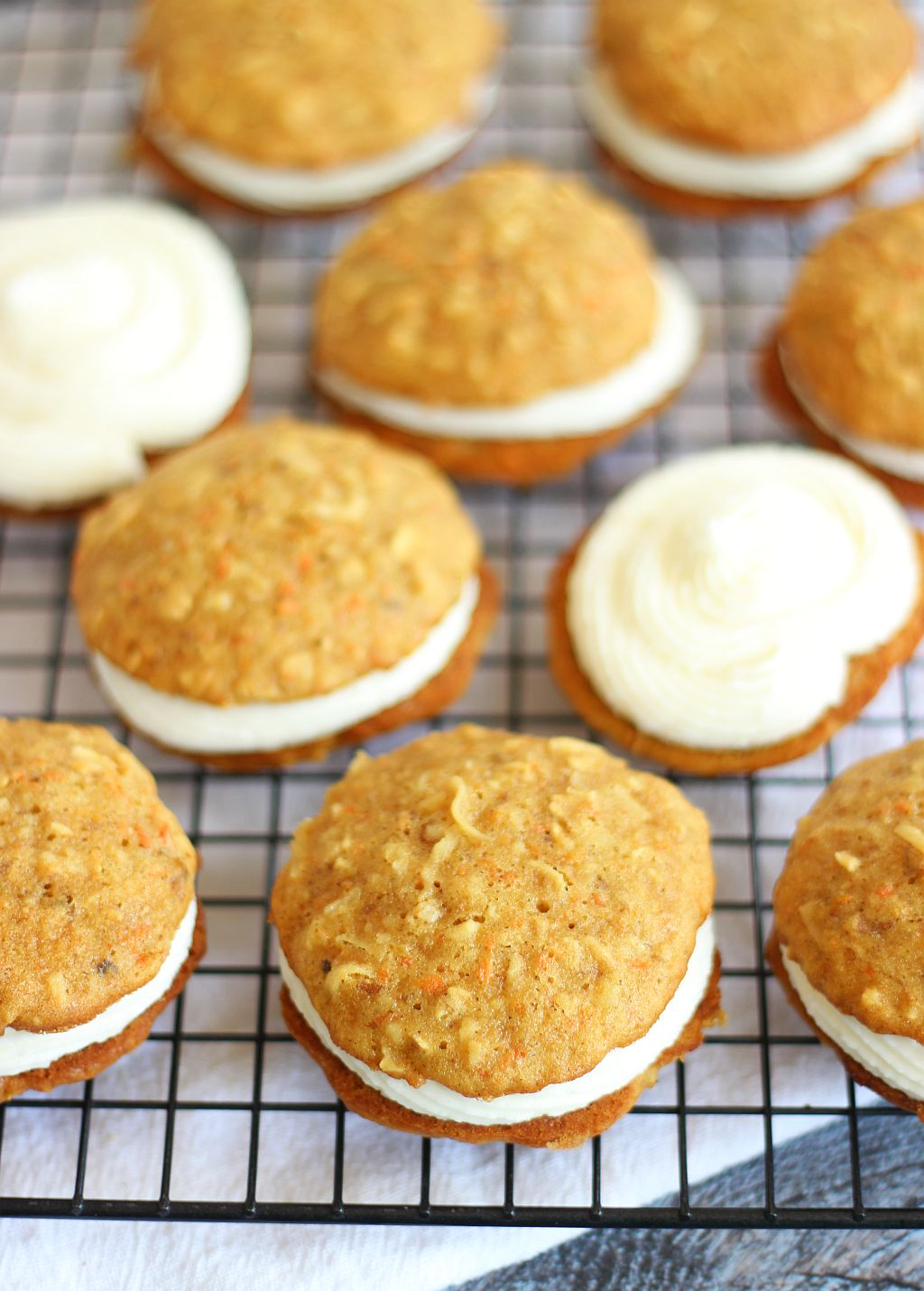 Carrot Cake Whoopie Pies with Rum Cream Cheese Buttercream