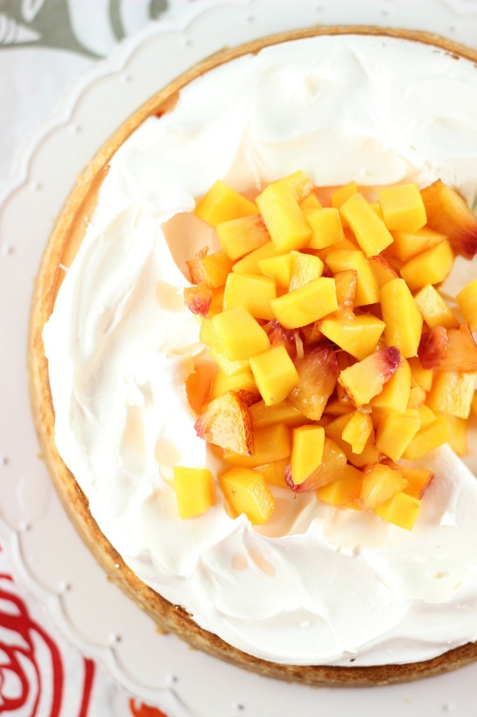 mango peach cheesecake with macadamia shortbread crust 26