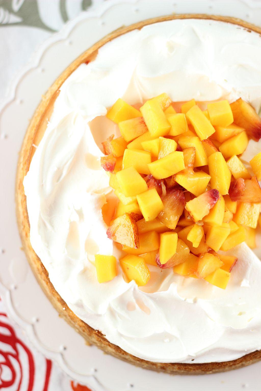 Mango Peach Cheesecake with Macadamia Crust