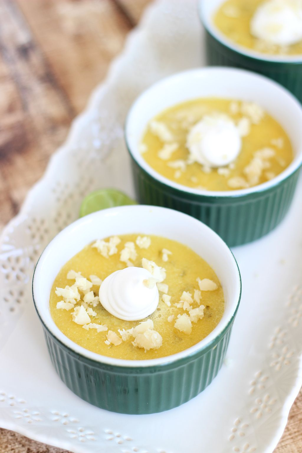 White Chocolate Key Lime Pots de Creme with Toasted Macadamia Nuts