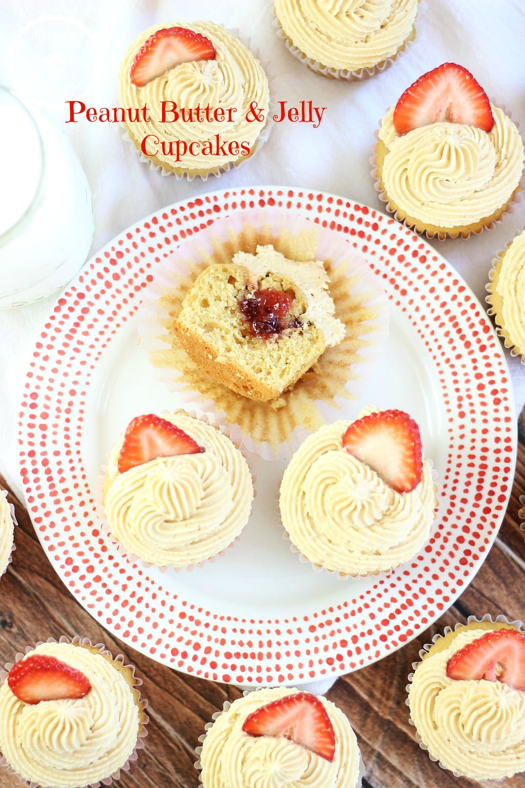 Easy cake mix peanut butter cupcakes filled with strawberry jam, and ...