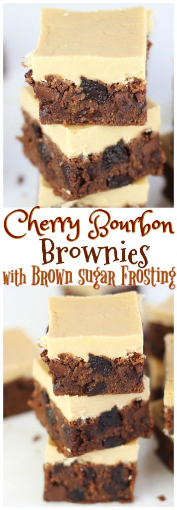 Cherry Bourbon Brownies with Brown Sugar Frosting pin 1