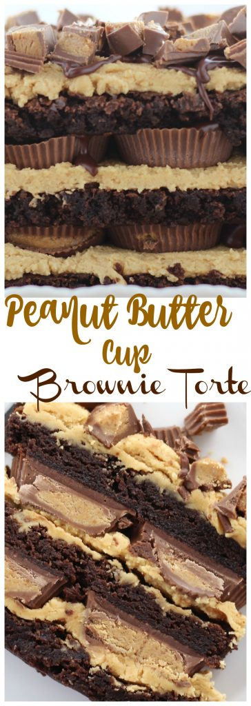 Peanut Butter Cup Brownie Torte thegoldlininggirl.com pin 2