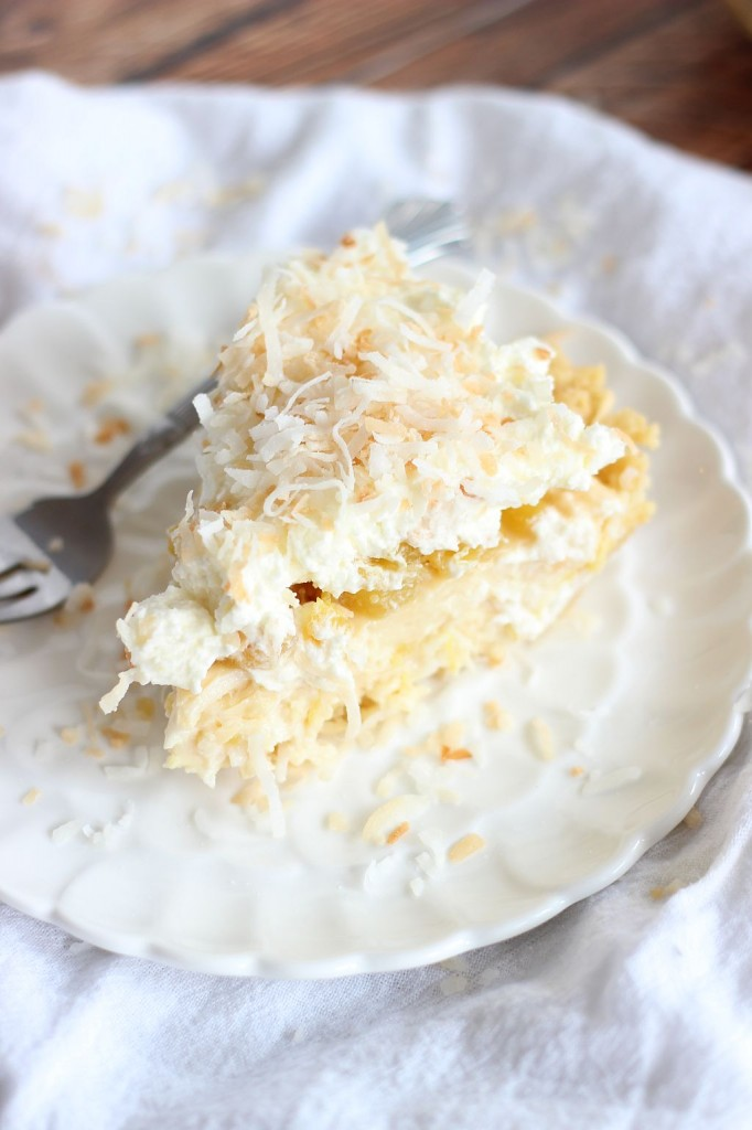 coconut cream pie with caramelized pineapple and whipped topping 24