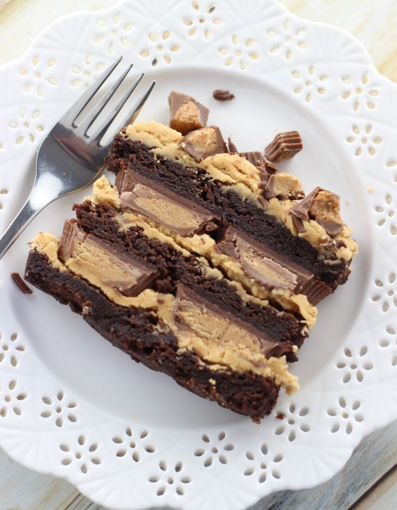 peanut butter cup brownie torte 19