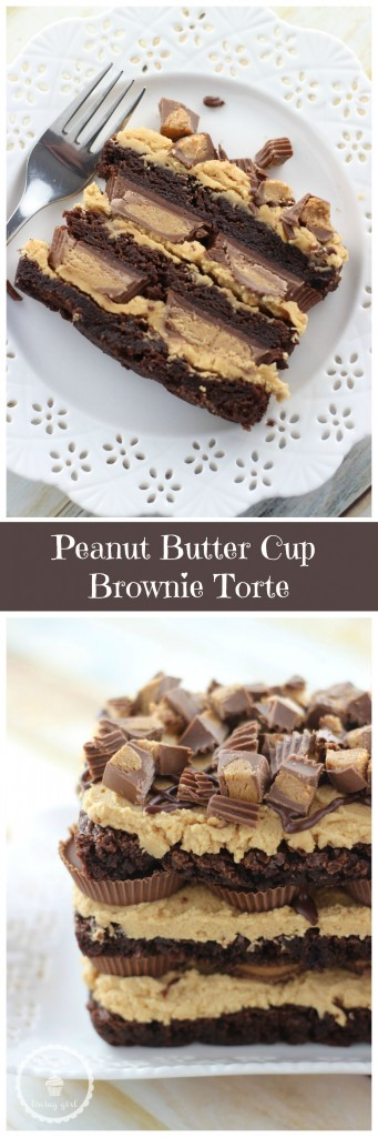 peanut butter cup brownie torte pin