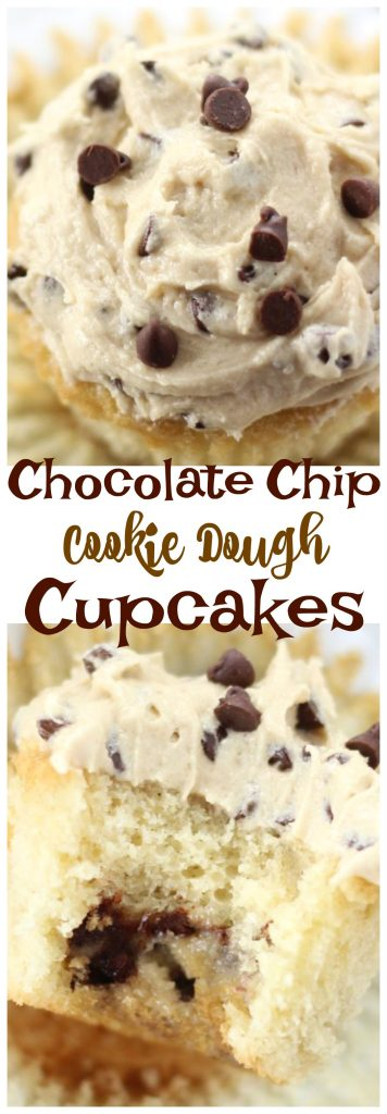 Chocolate Chip Cookie Dough Cupcakes pin