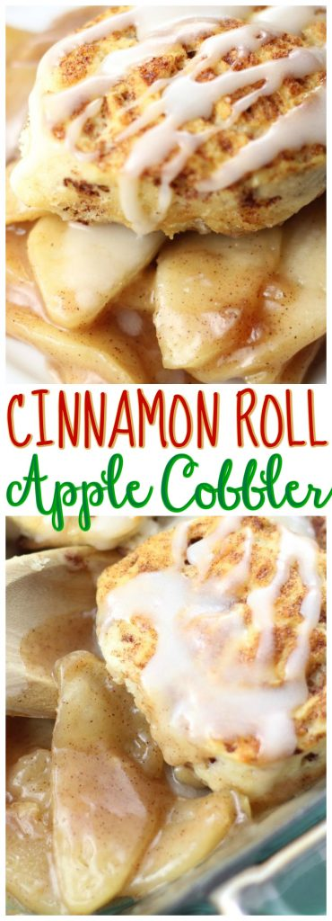 Cinnamon Roll Apple Cobbler recipe image thegoldlininggirl.com pin 1