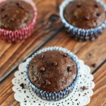 Chocolate Zucchini Muffins with Chocolate Chips