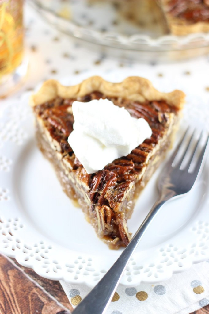 brown butter bourbon pecan pie with bourbon whipped cream 23