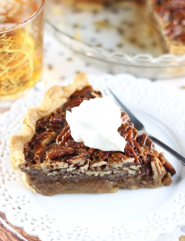 brown butter bourbon pecan pie with bourbon whipped cream 26