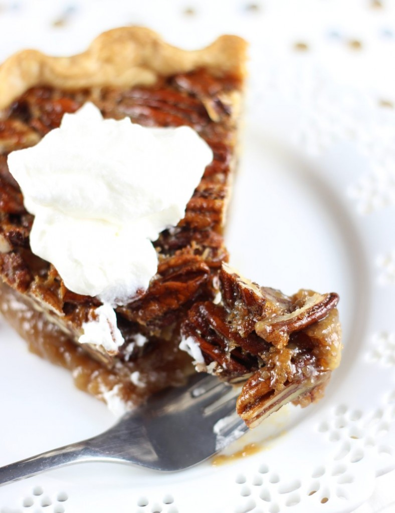 brown butter bourbon pecan pie with bourbon whipped cream 32