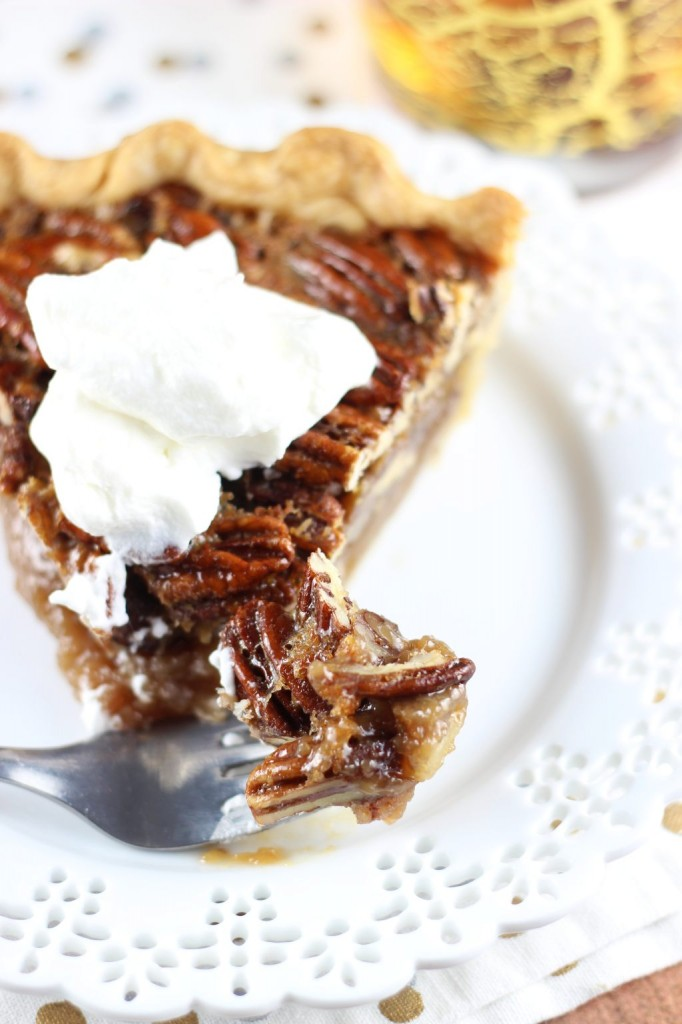brown butter bourbon pecan pie with bourbon whipped cream 34