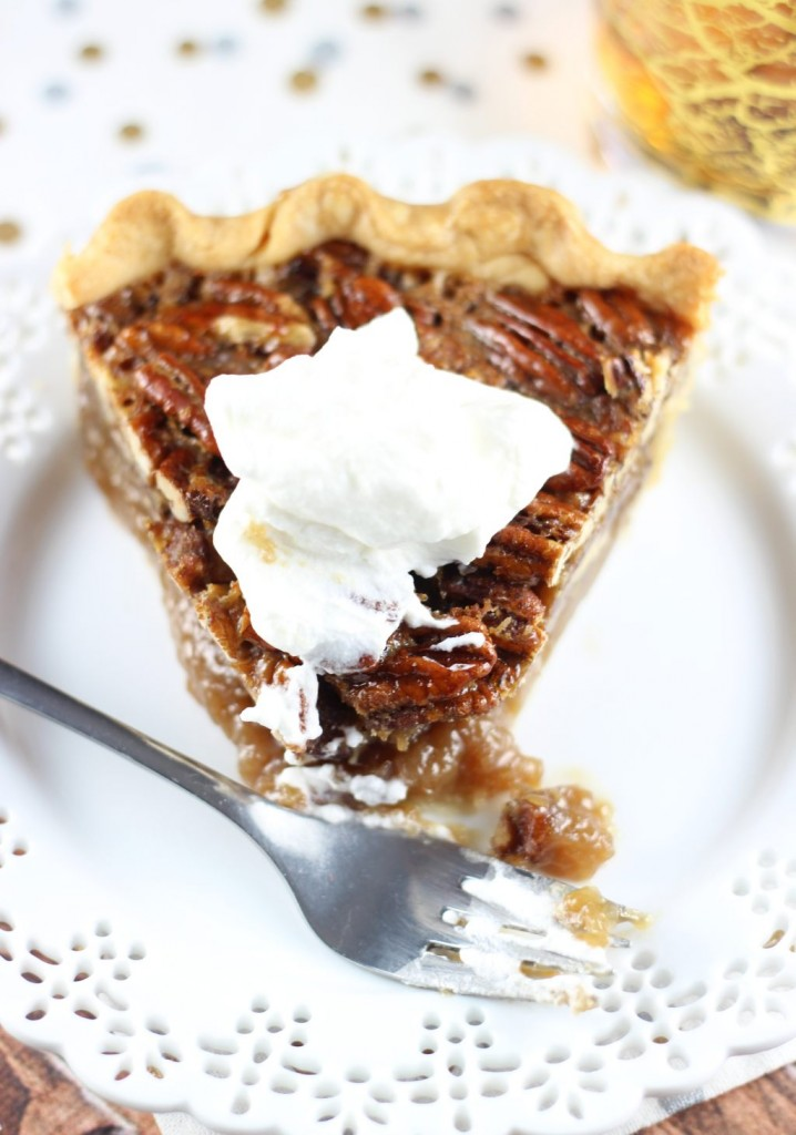 brown butter bourbon pecan pie with bourbon whipped cream 38