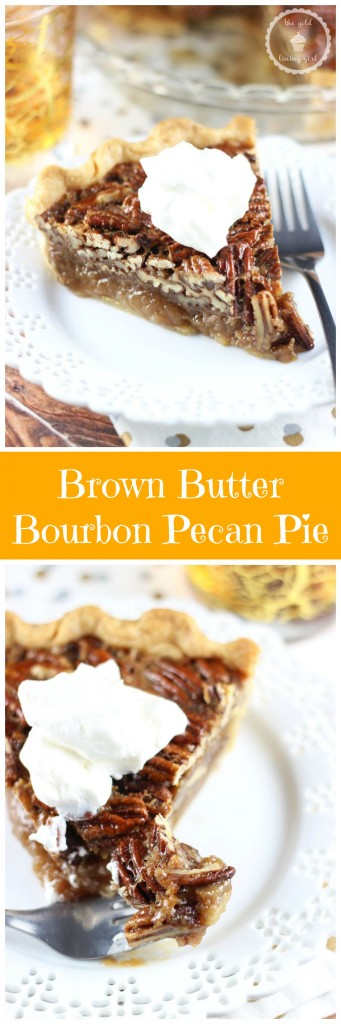 brown butter bourbon pecan pie with bourbon whipped cream pin