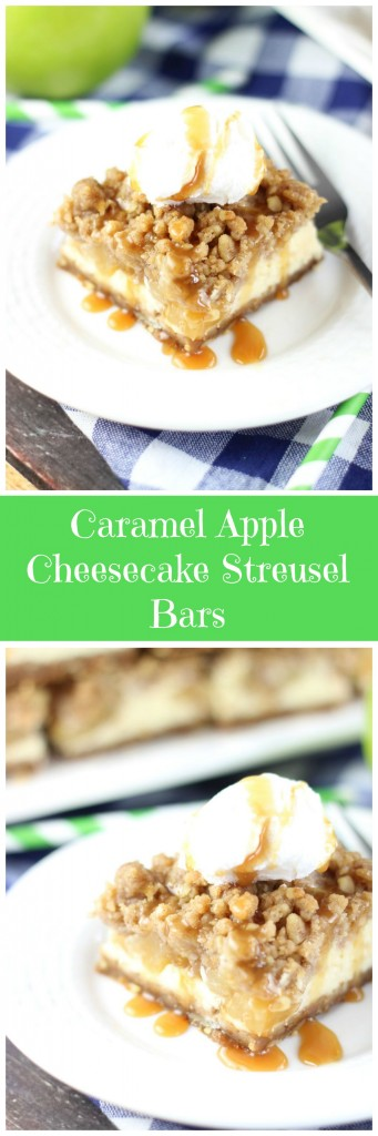 caramel apple cheesecake streusel bars with gingersnap walnut crust pin
