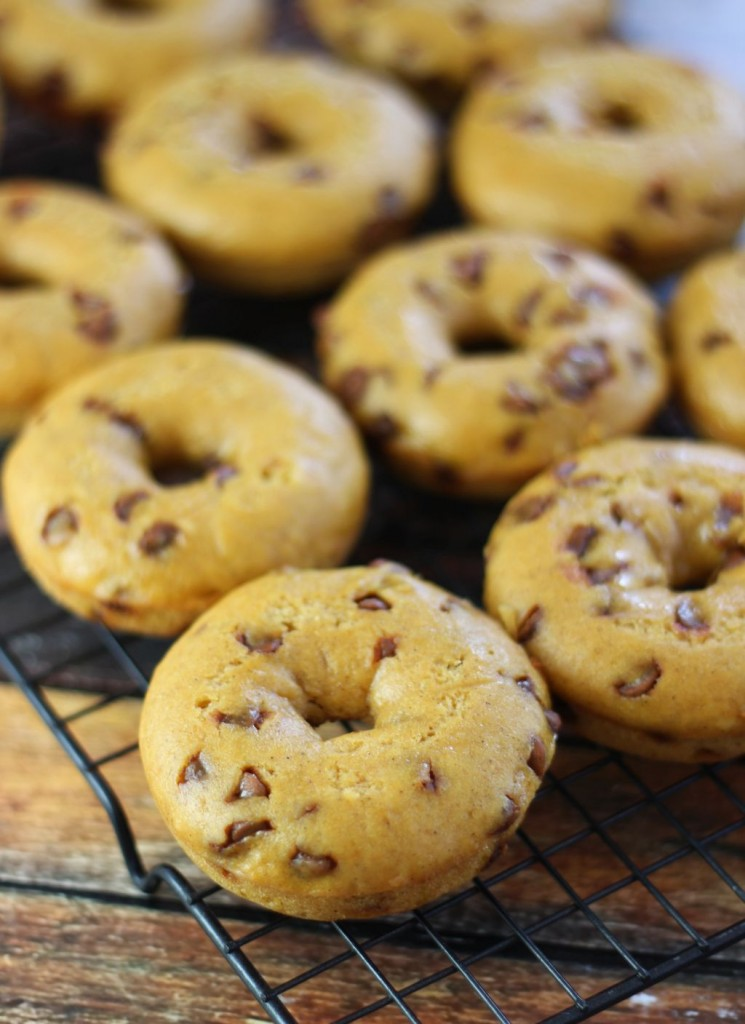 pumpkin cinnamon chip cake donuts with maple cream cheese icing 1