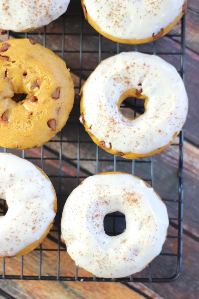 pumpkin cinnamon chip cake donuts with maple cream cheese icing 11