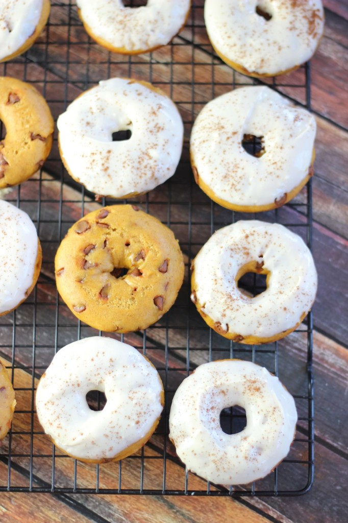 pumpkin cinnamon chip cake donuts with maple cream cheese icing 12