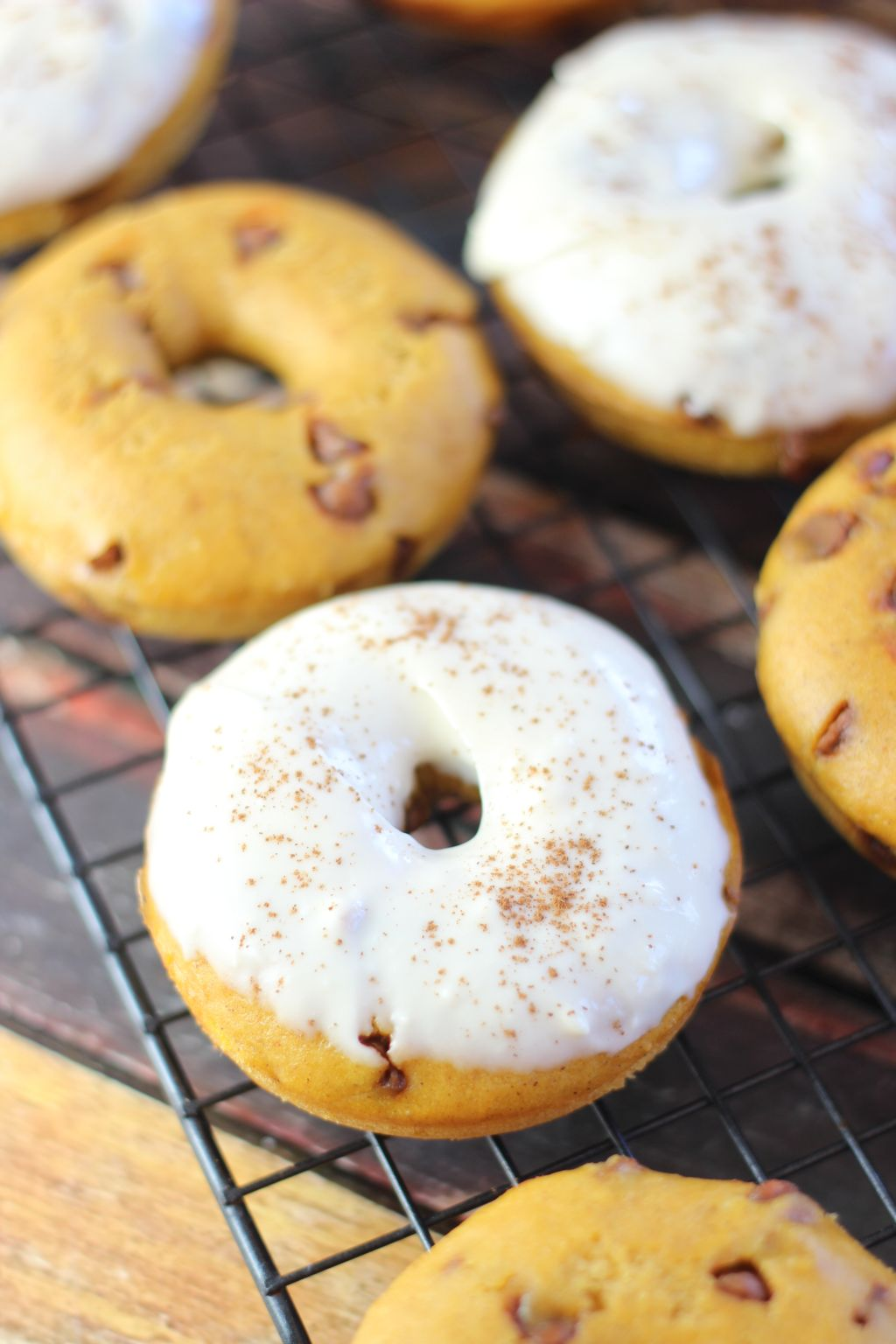 baked pumpkin donuts with cinnamon chips, and a delicious maple cream ...