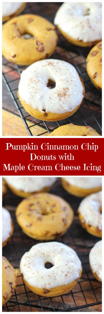 pumpkin cinnamon chip cake donuts with maple cream cheese icing pin
