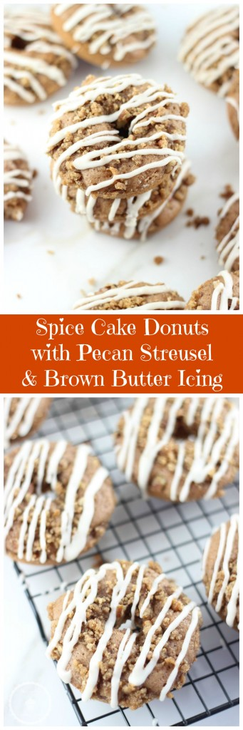 spice cake pecan streusel cake donuts with brown butter icing pin