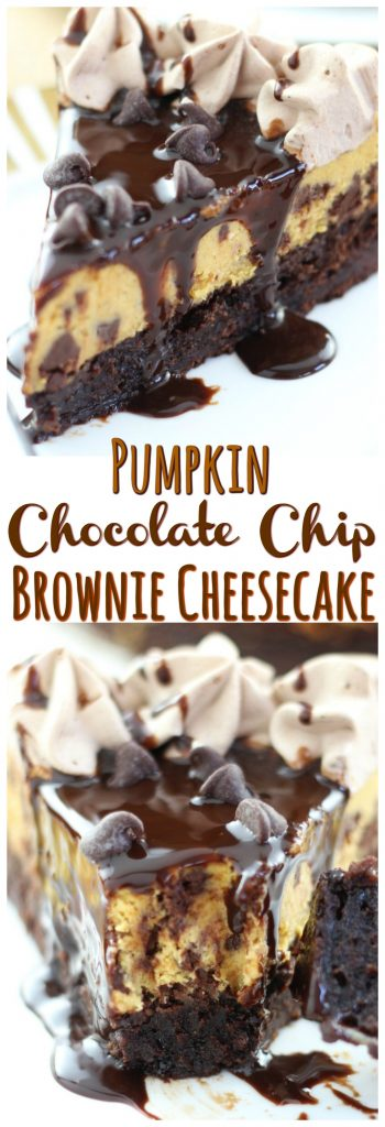 Pumpkin Chocolate Chip Brownie Cheesecake pin 1