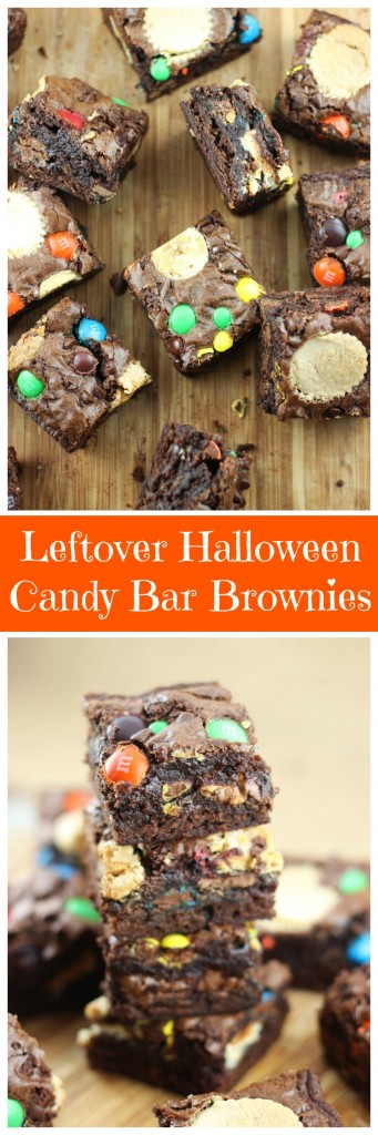 leftover halloween candy bar brownies pin