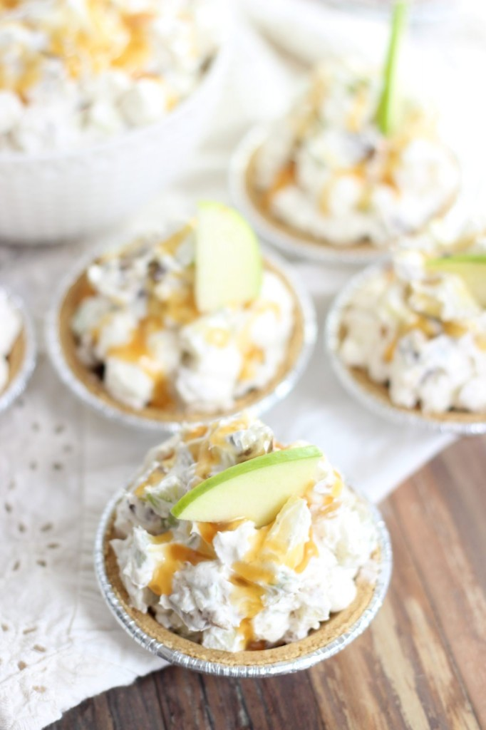 mini no bake caramel apple pies 12