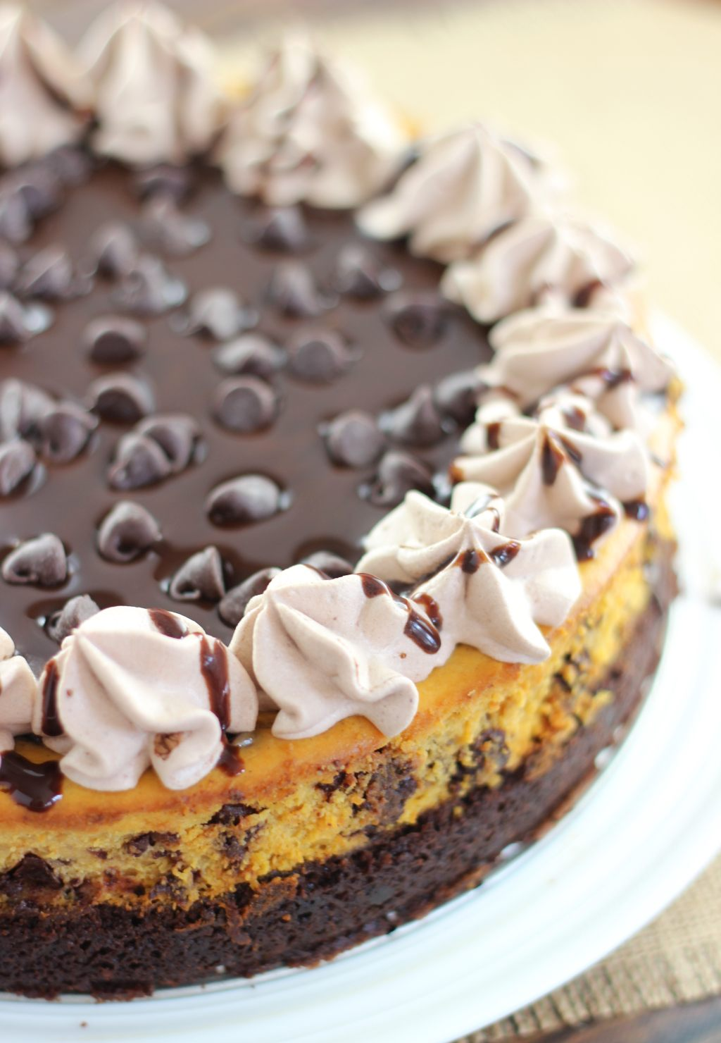 Pumpkin Chocolate Chip Brownie Cheesecake - The Gold Lining Girl
