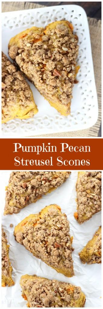 pumpkin pecan scones with brown sugar streusel pin