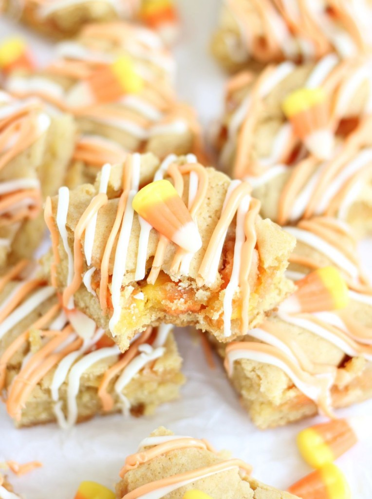 white chocolate candy corn blondies 13