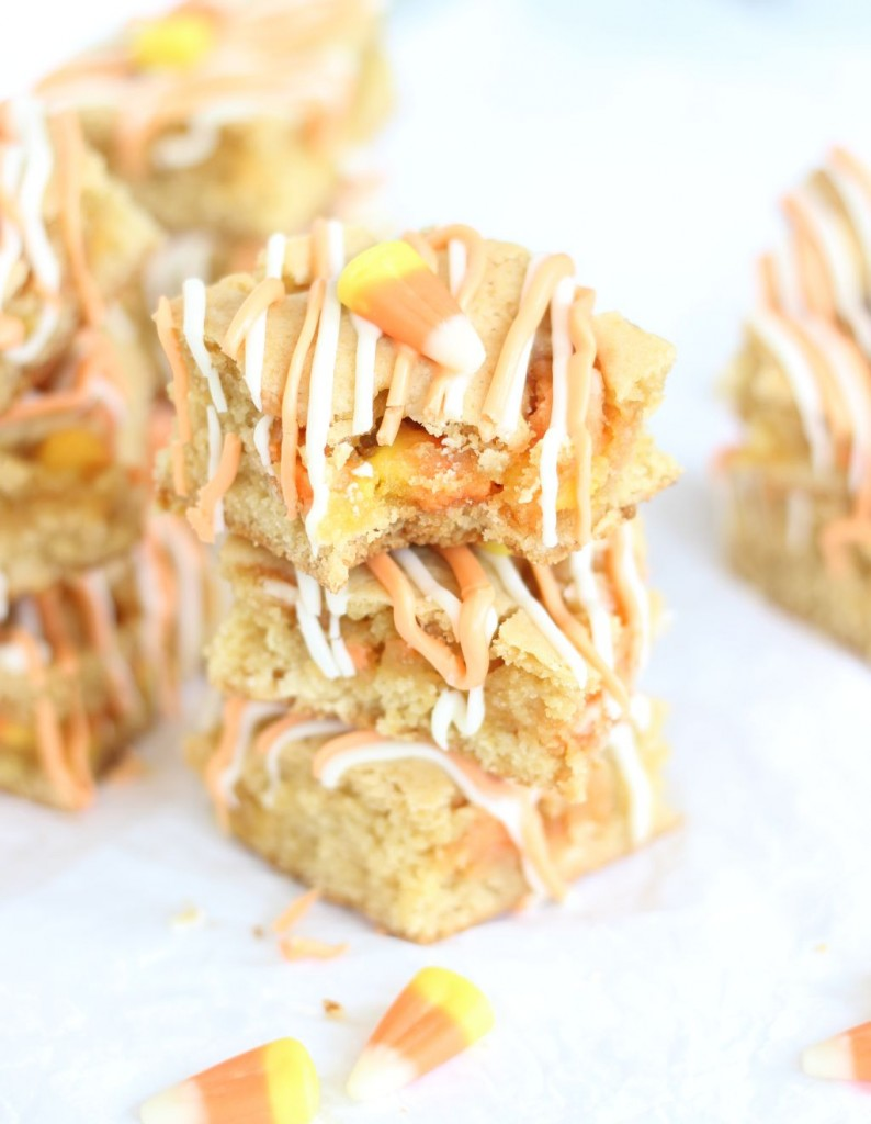 white chocolate candy corn blondies 16