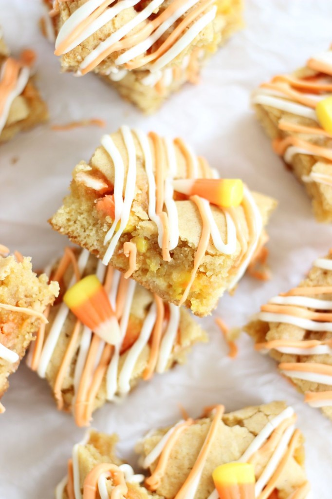 white chocolate candy corn blondies 8