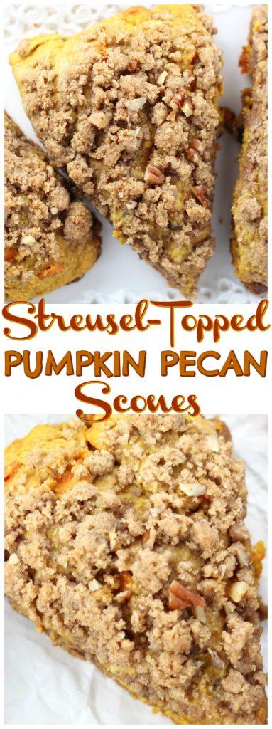 Pumpkin Pecan Scones with Brown Sugar Streusel recipe image thegoldlininggirl.com pin 1