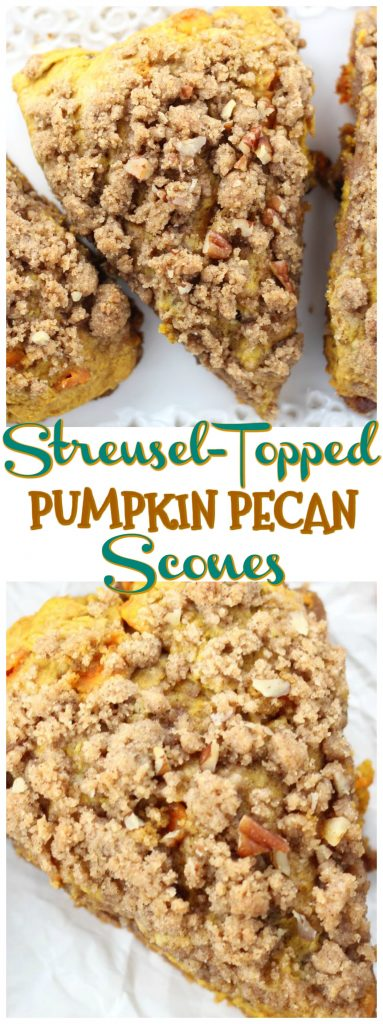 Pumpkin Pecan Scones with Brown Sugar Streusel recipe image thegoldlininggirl.com pin 2