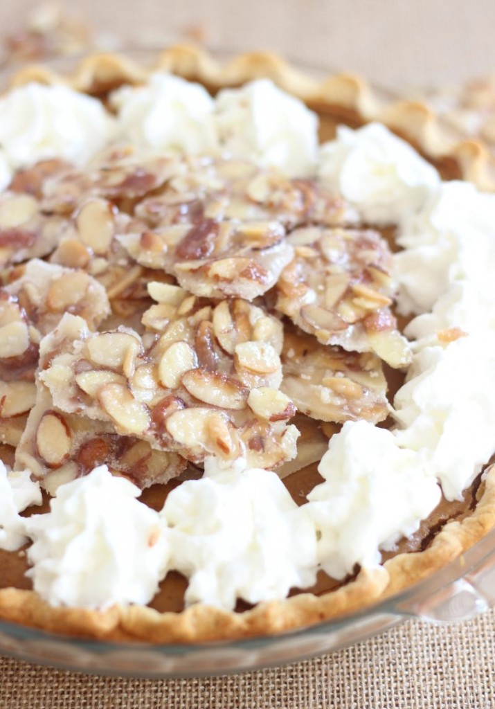 amaretto pumpkin pie with almond brittle 11
