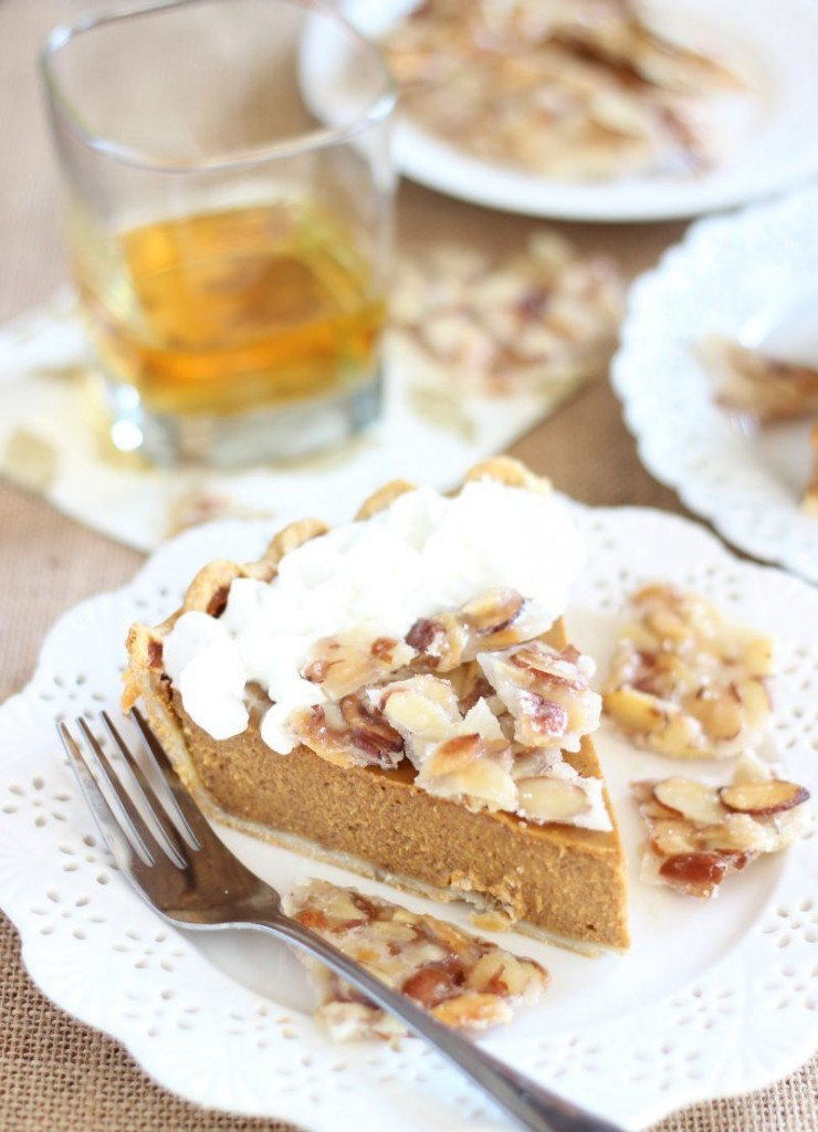 amaretto pumpkin pie with almond brittle 16