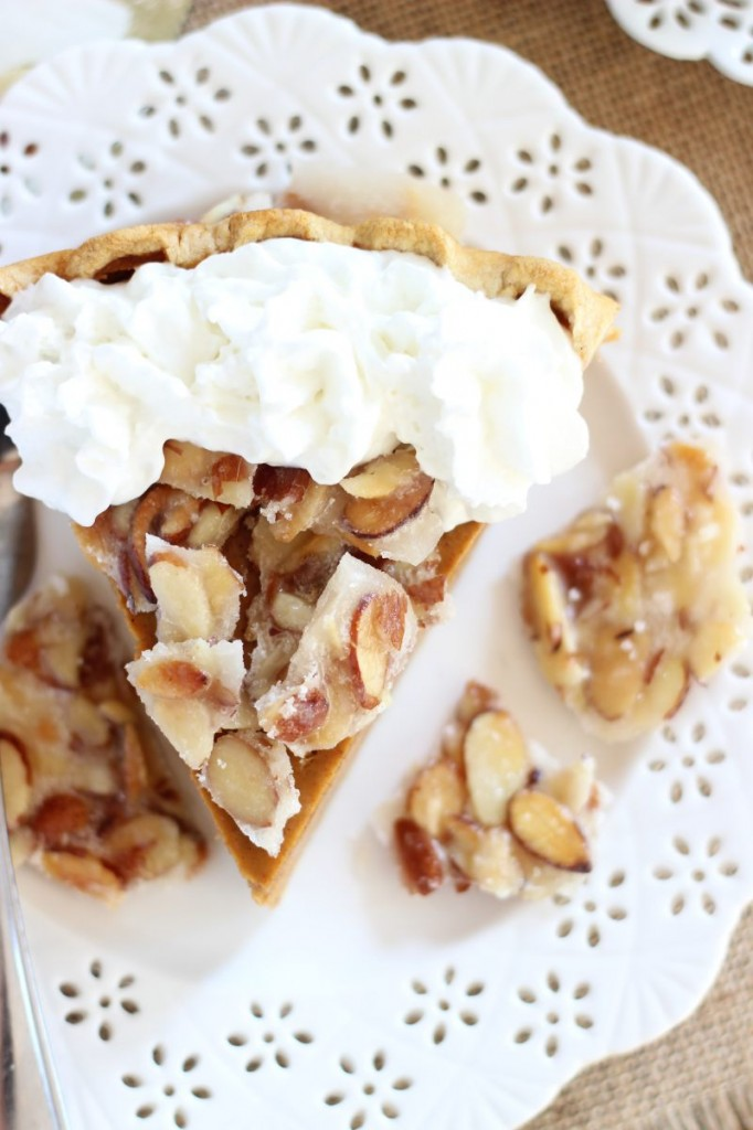 amaretto pumpkin pie with almond brittle 20