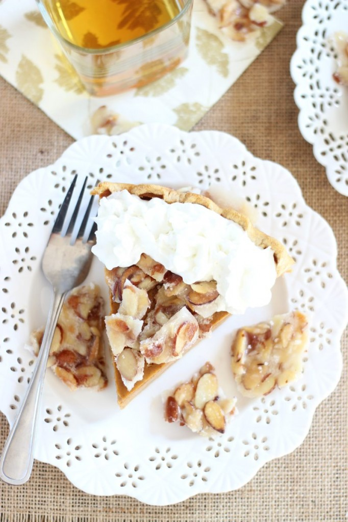 amaretto pumpkin pie with almond brittle 21