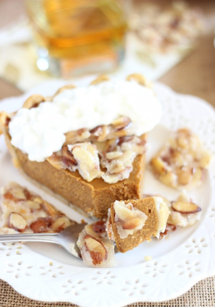 amaretto pumpkin pie with almond brittle 25
