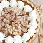 Amaretto Pumpkin Pie with Almond Brittle