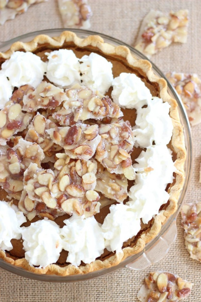 amaretto pumpkin pie with almond brittle 8
