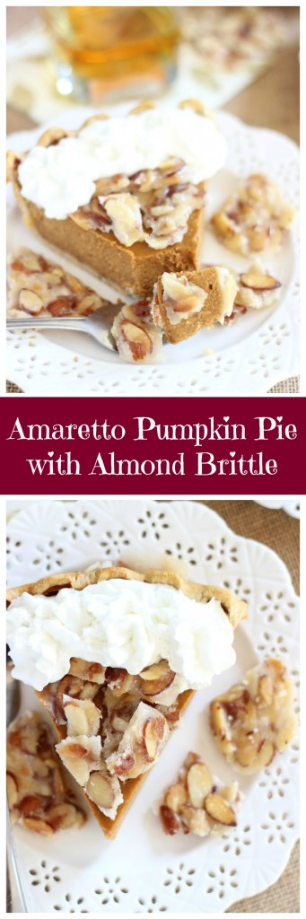amaretto pumpkin pie with almond brittle pin
