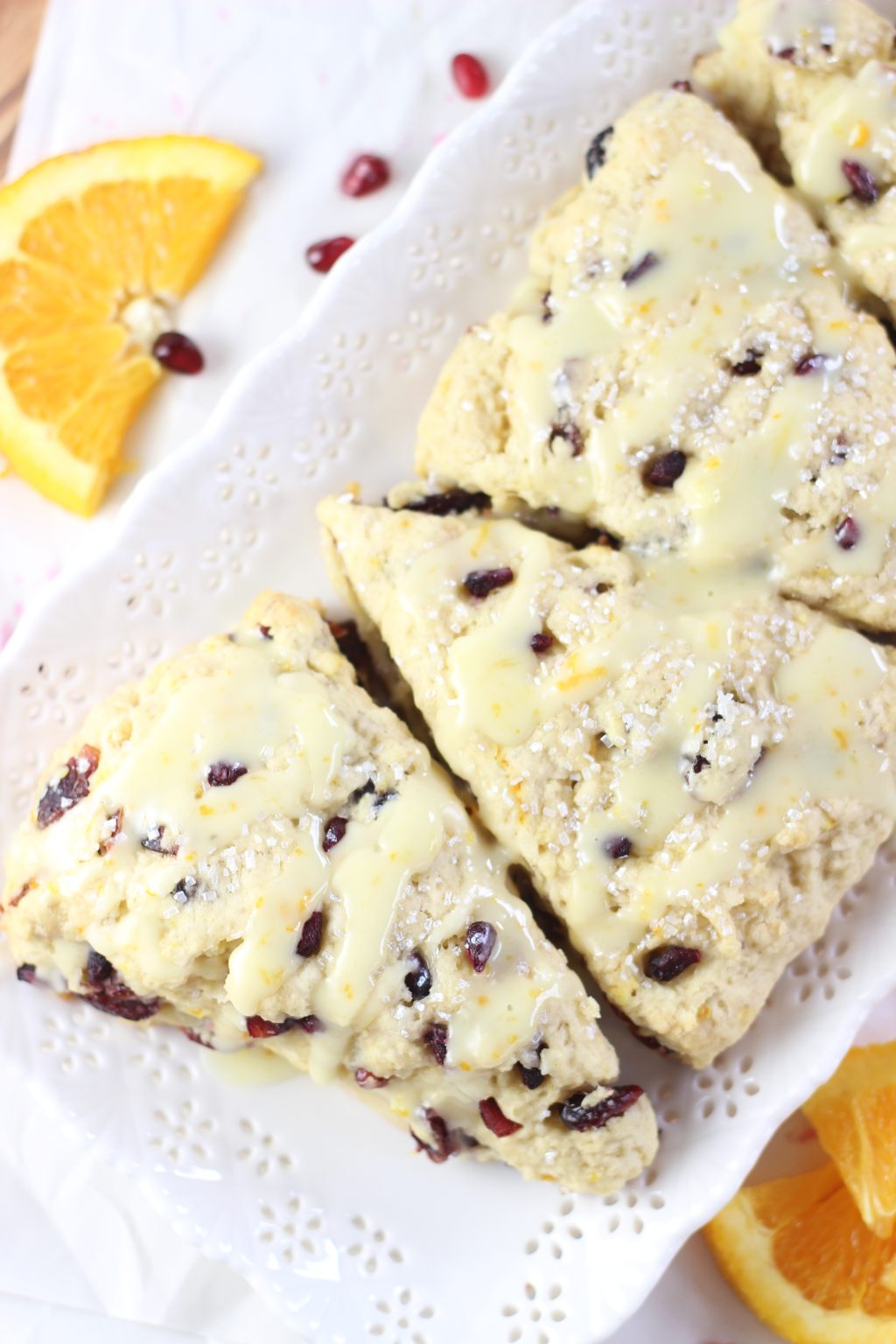 Cranberry Orange Scones with Orange Glaze