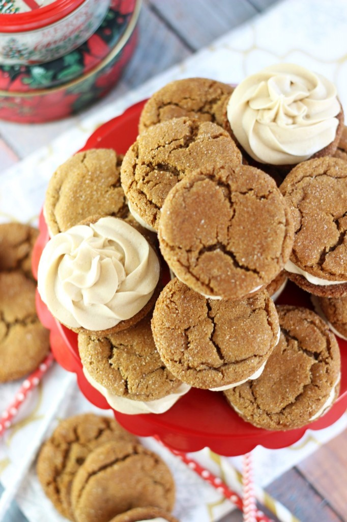 ginger cookie sandwiches with caramel buttercream 12