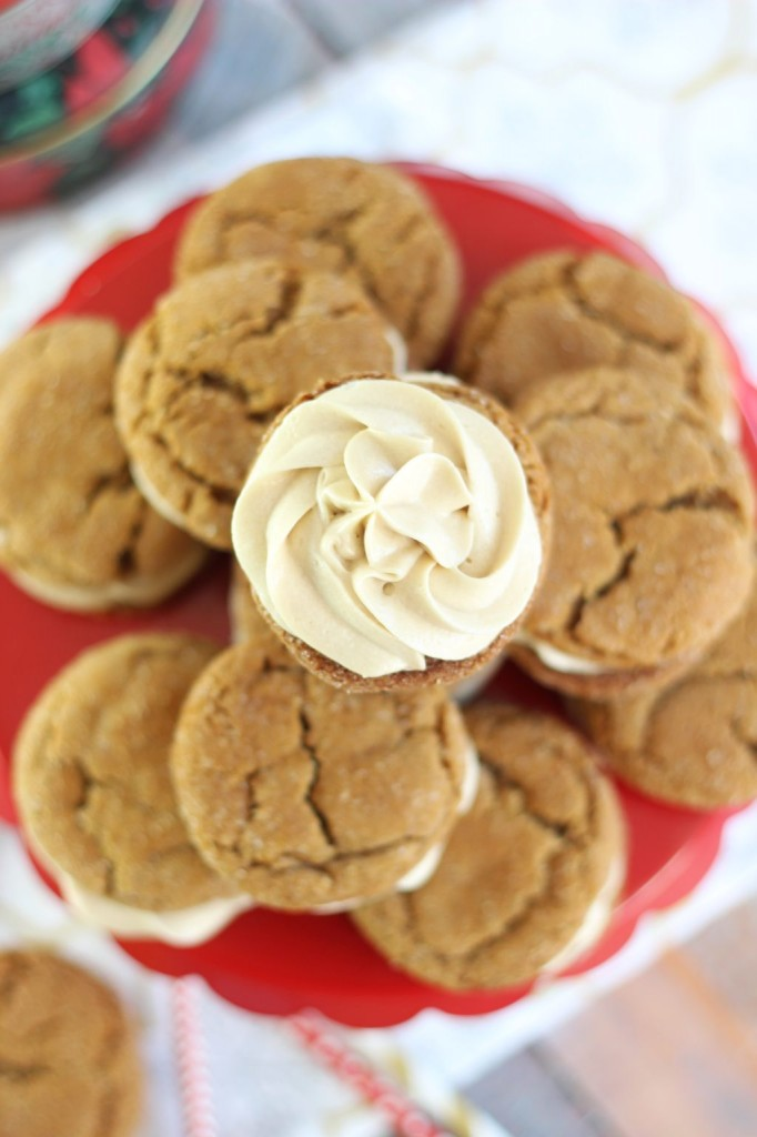 ginger cookie sandwiches with caramel buttercream 16
